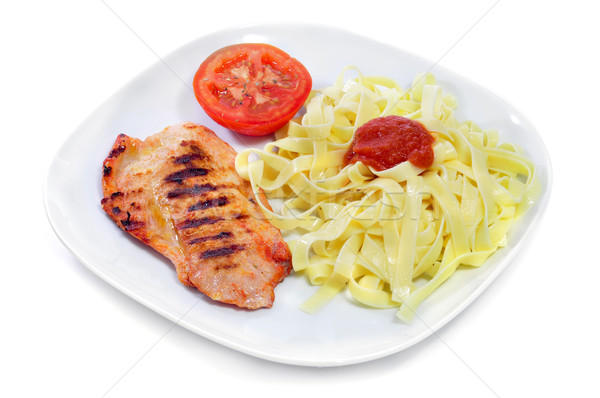 tagliatelle with tomato sauce and grilled chicken Stock photo © nito