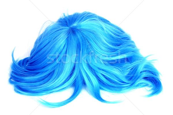 синий парик белый моде фон красоту Сток-фото © nito