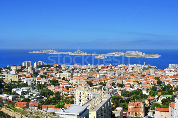 aerial view of Marseille, France, with Les Isles islands in the  Stock photo © nito