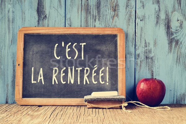 Stock photo: text cest la rentree, back to school in french, written on a cha