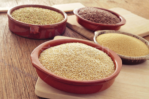 amaranth, quinoa, brown flax and buckwheat seeds Stock photo © nito