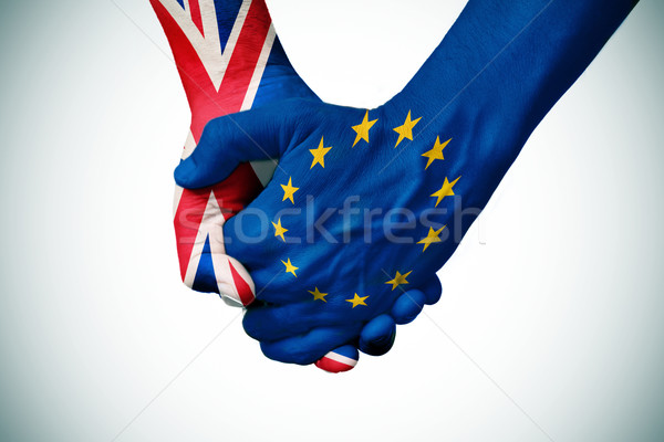 hands patterned with the British and the European flag Stock photo © nito