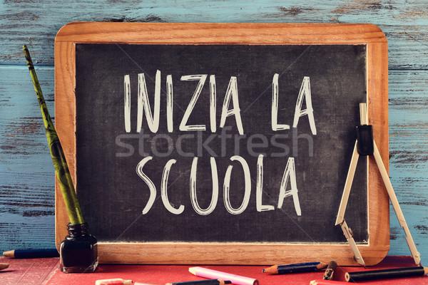 text inizia la scuola, back to school in italian Stock photo © nito