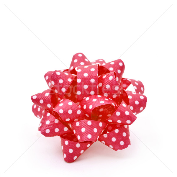 red gift puff bow patterned with white dots Stock photo © nito