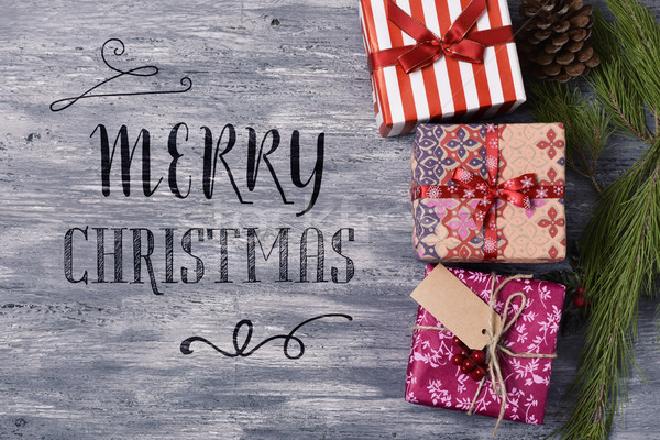 cozy gifts and text merry christmas Stock photo © nito