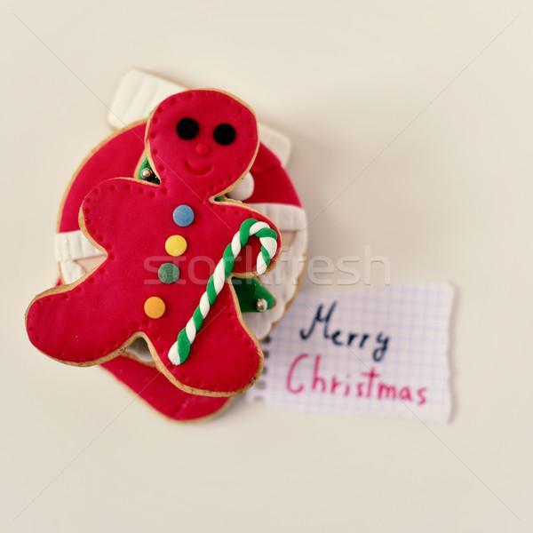 Karácsony kekszek szöveg vidám lövés köteg Stock fotó © nito