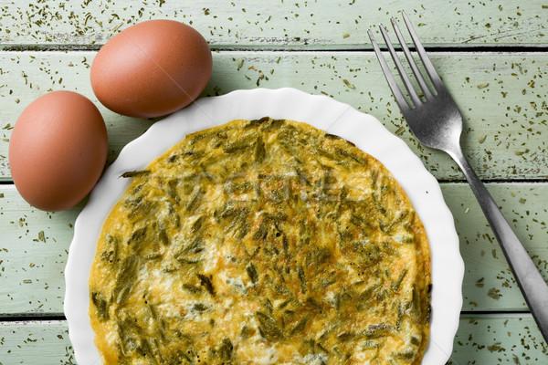 Spaans tortilla asperges wild eieren bleek Stockfoto © nito