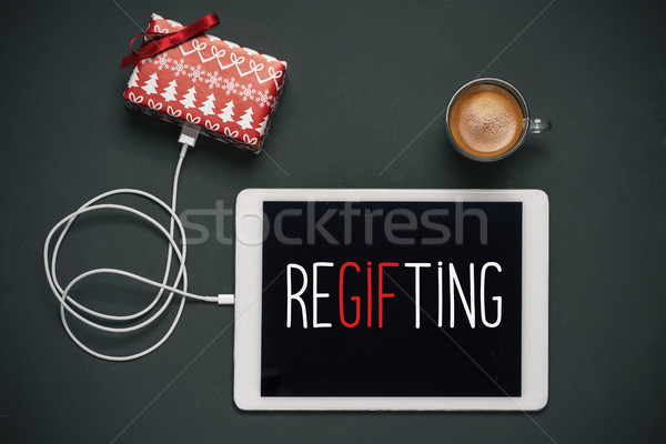 gift and text regifting in a tablet Stock photo © nito