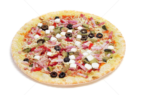 precooked pizza with bacon, olives, cherry tomatoes, goat cheese Stock photo © nito