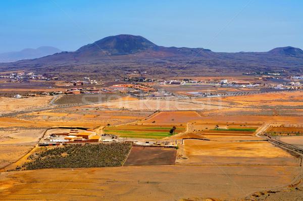 La Oliva town and La Arena volcano Fuerteventura, Canary Islands Stock photo © nito