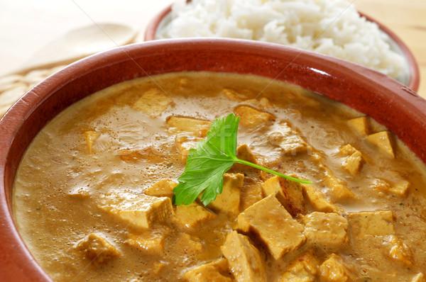 Kókusz tofu curry közelkép tál felszolgált Stock fotó © nito