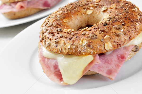 brown bagel filled with ham and cheese Stock photo © nito