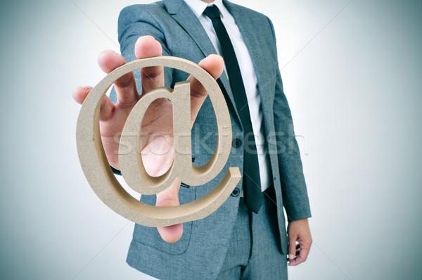 üzletember felirat fiatal mutat kéz internet Stock fotó © nito