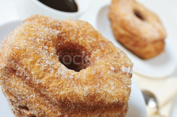 coffee and croissant-doughnut pastries sprinkled with sugar Stock photo © nito