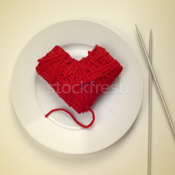 Labda Manhattan tányér köt tűk oldal Stock fotó © nito