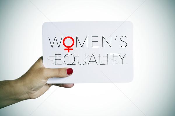 女性 文字 平等 手 若い女性 ストックフォト © nito