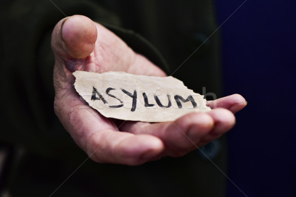 old man with a paper with the word asylum Stock photo © nito