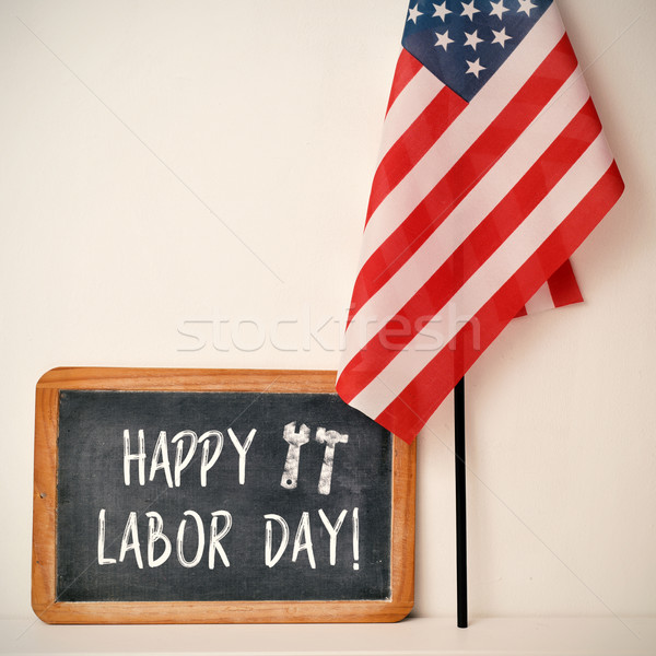 text happy labor day and American flag Stock photo © nito