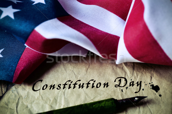 text constitution day and flag of USA Stock photo © nito