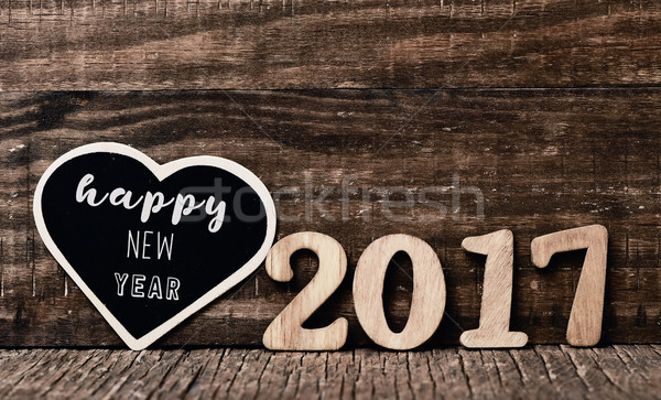 Texte happy new year noir écrit bois nombre Photo stock © nito