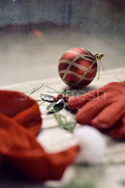 santa hat, red gloves, holly and christmas ball Stock photo © nito