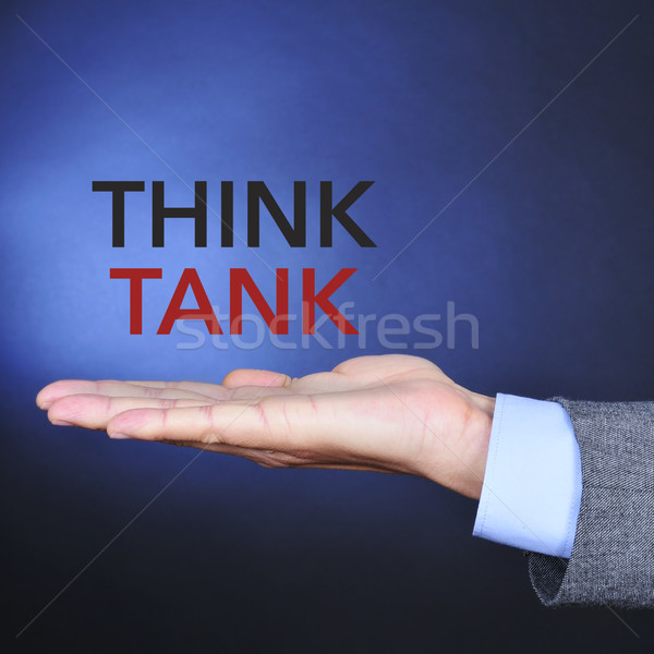 text think tank in the hand of a man Stock photo © nito