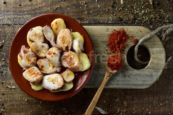 La recept octopus typisch shot plaat Stockfoto © nito