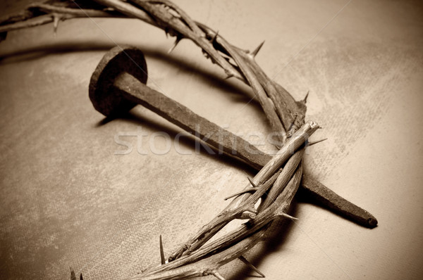 Jesus Christ crown of thorns and nail Stock photo © nito