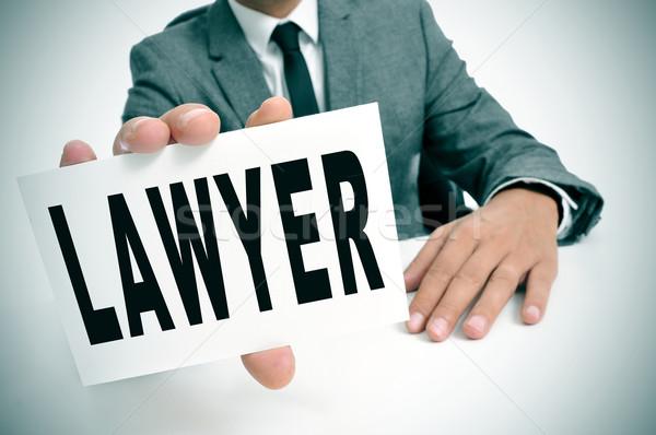 ügyvéd férfi visel öltöny ül asztal Stock fotó © nito