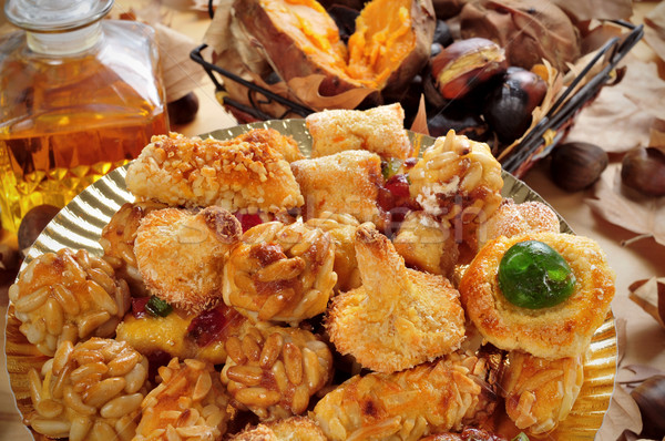 panellets, roasted chestnuts and sweet potatoes, and sweet wine, Stock photo © nito