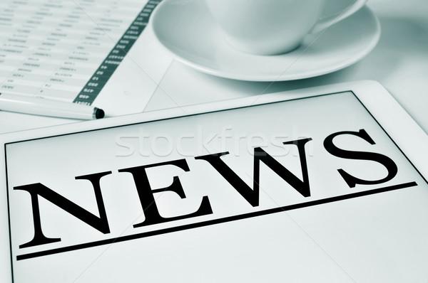Kávé hírek közelkép asztal csésze kávé Stock fotó © nito