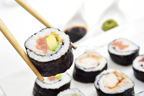 Tálca válogatás közelkép különböző avokádó tonhal Stock fotó © nito
