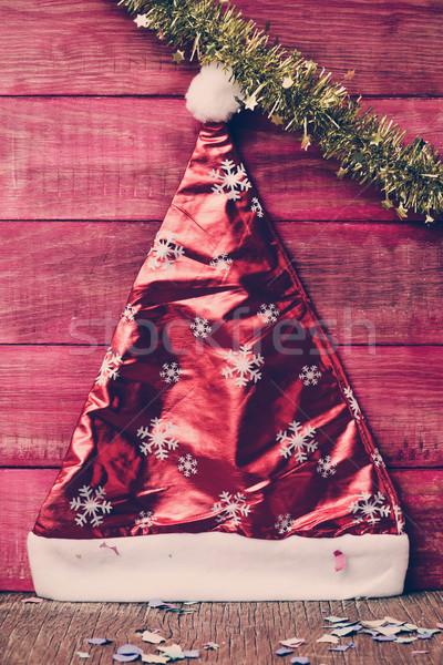 santa hat, tinsel and confetti, filtered Stock photo © nito