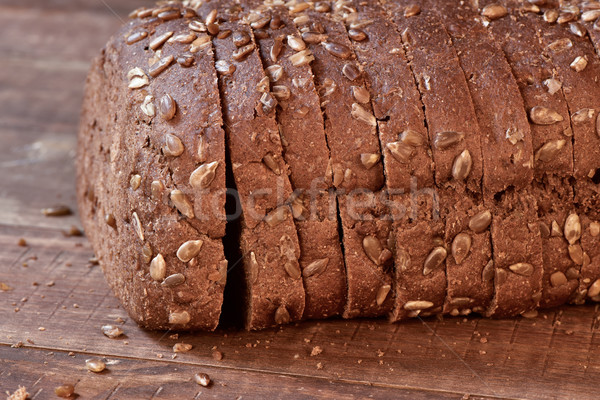 sliced rye bread on a wooden surface Stock photo © nito