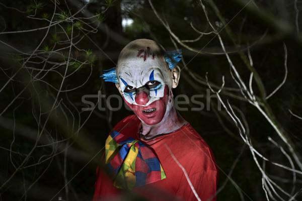 Scary zło clown lesie ciemne Zdjęcia stock © nito