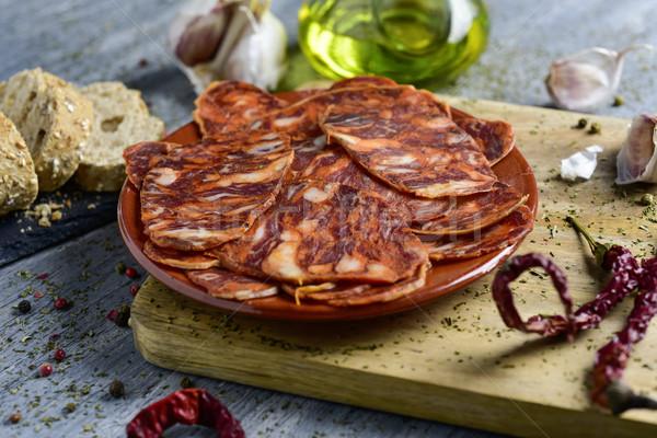 spanish chorizo, cured pork sausage Stock photo © nito