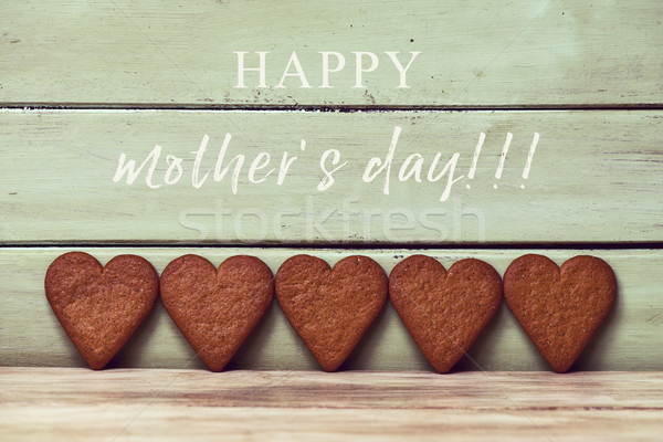 heart-shaped cookies and text happy mothers day Stock photo © nito