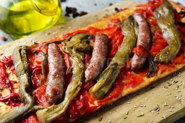Santoreggia torta simile pizza primo piano fetta Foto d'archivio © nito