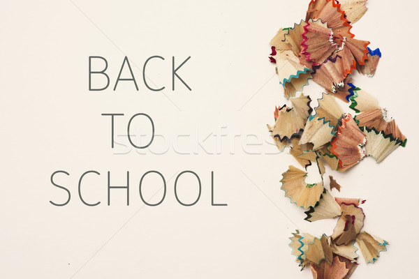 pencil shavings and text back to school Stock photo © nito