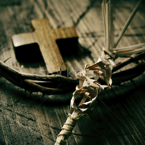 Stock photo: braided palm leaf, cross and crown of thorns