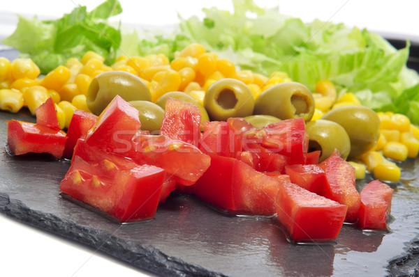 Saláta hozzávalók közelkép paradicsom olajbogyók kukorica Stock fotó © nito