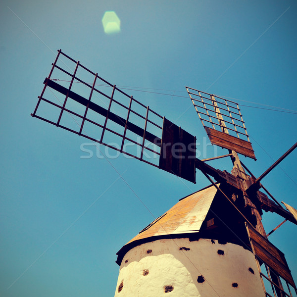 Velho moinho de vento canárias Espanha edifício energia Foto stock © nito