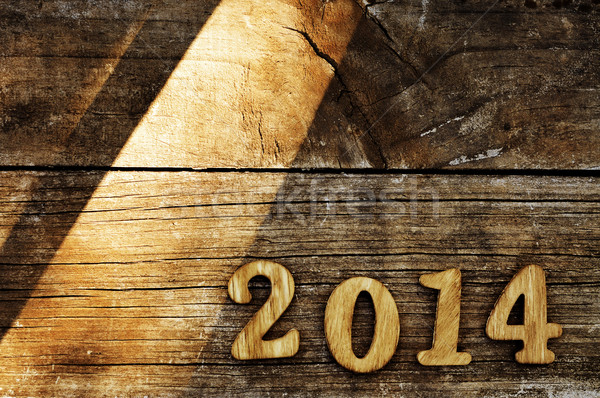 2014 nieuwjaar geschreven houten nummers oude Stockfoto © nito