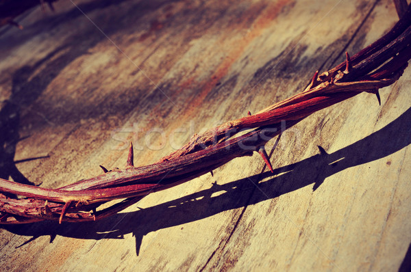 the Jesus Christ crown of thorns, with a retro filter effect Stock photo © nito