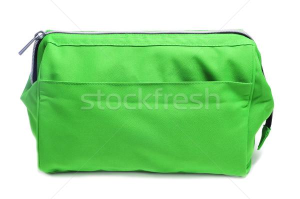 WC worek zielone przypadku biały tle Zdjęcia stock © nito