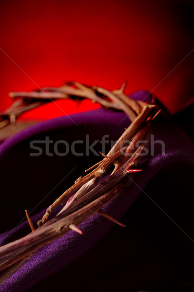 Couronne jesus christ pourpre tissu Photo stock © nito