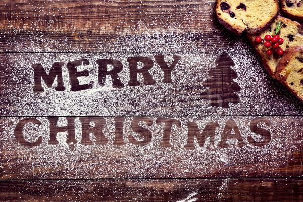 Gyümölcstorta szöveg vidám karácsony lövés fa asztal Stock fotó © nito