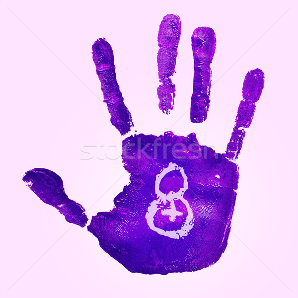 violet handprint and number 8, for the womens day Stock photo © nito