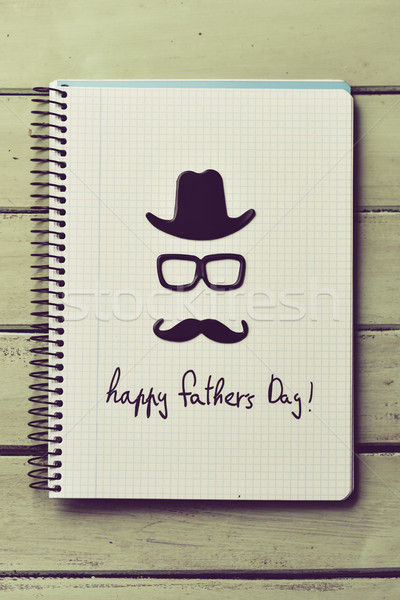 eyeglasses, mustache and text happy fathers day Stock photo © nito