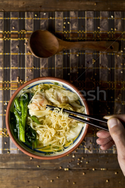 shrimp wonton noodle soup with choy sum Stock photo © nito